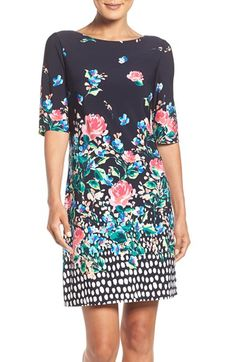 Free shipping and returns on Eliza J Floral Jersey Shift Dress (Regular & Petite) at Nordstrom.com. Always polished and completely comfortable, a boatneck dress skims the figure in supple stretch jersey cast in a dot-brightened floral print.