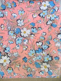 Vintage Fabric Yardage Flowers Pink Blue Cotton by vintagejane
