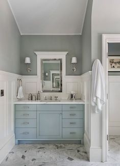 Blue Painted Bath Vanities/light blue vanity/bathroom/gray and white bathroom/gray flooring Blue Bathroom Vanity, Blue Vanity, Small Bathroom Vanities, Grey Bathrooms, Bath Vanities, White Bathroom, Beautiful Bathrooms, Bathroom Ideas, Painted Bathroom Cabinets