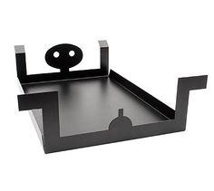 Black lacquered metal tray Vassoio Adam design Alessandro Mendini 1986 executed for Museo Alchimia Milan / Italy
