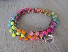 Spring crochet wrap bracelet - Neon Swirl - bright multi color colorful ombre Easter inspired summer boho by slashKnots