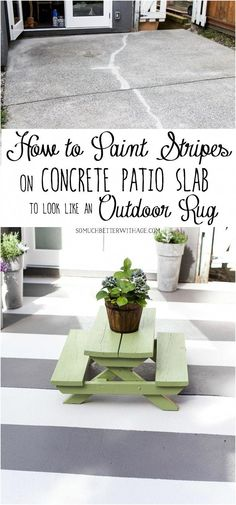 How to Paint Stripes on Concrete Patio Slab to Look Like an Outdoor Rug - So Much Better With Age This concrete slab patio got an update with painted stripes to make it look like an outdoor rug. Inexpensive way to prolong that ugly concrete slab. Patio Diy, Patio Rugs, Backyard Patio, Outdoor Rugs, Patio Ideas, Outdoor Decor, Outdoor Paint, Backyard Ideas, Outdoor Spaces