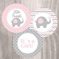 Pink Elephant Printable Centerpieces Pink and Grey by IsiDesigns