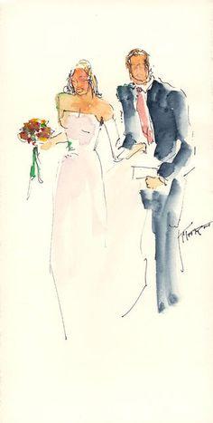 Bride & Groom - Quick Sketch  Watercolor & Ink