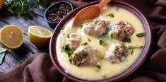 The traditional Egg-lemon sauce (Greek Avgolemono) recipe Meatball Soup, Meatball Recipes, Bean Soup Recipes, Sauce Recipes, Meze Platter, Greek Lemon Chicken Soup, Greek Appetizers, Greek Meatballs, Greece