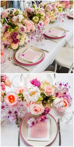 Wedding Table Flower Centerpieces Pink Purple | visit www.lovelyweddingideas.com