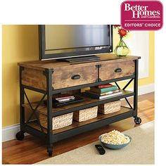 Better Homes and Gardens Rustic Country Antiqued Black/Pine Panel TV Stand for TVs up to - I just bought this for my living room. Tvs, Televisions, Sofa Shelf, Rustic Tv Console, Console Tables, Black Tv Stand, Look Office, Vintage Industrial Furniture, Vintage Industrial Décor