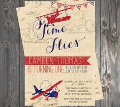 Time Flies Vintage Airplane Invitation by EmiJaiDesigns on Etsy