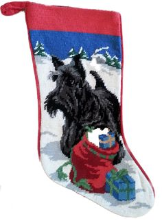 "Scottie Scottish Terrier Dog Christmas Needlepoint Stocking - 11"" x 18"""