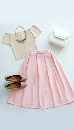 Oh, So Pretty Light Pink Midi Skirt - Daily Fashion Outfits Mode Outfits, Skirt Outfits, Casual Outfits, Fashion Outfits, Womens Fashion, Modest Fashion, Dress Fashion, Look Fashion, Spring Fashion