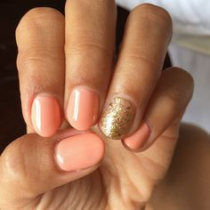 Valley Fine Nails - San Jose, CA, United States. My peach and gold Shellac (can't stop looking at my nails)