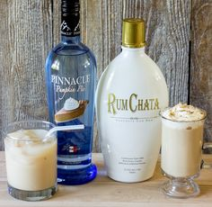 Adult pumpkin spice latte. Serve hot or iced. Coffee, milk, RumChata, pumpkin pie vodka, sugar, and vanilla.