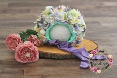 Sitter Flower Bonnet  RTS Photo Prop Pastel by LouLouBoutiquee