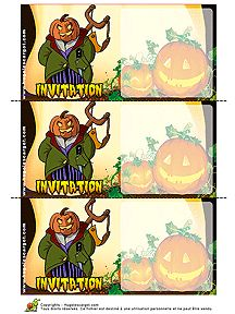 A imprimer pour Halloween, une carte d'invitation avec l'image d'un ogre citrouille