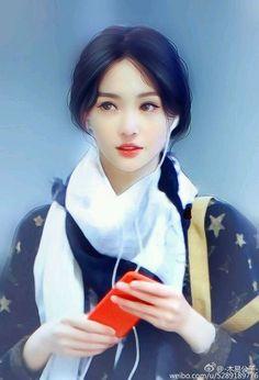 Japanese Drawings, Realistic Drawings, Korean Art, Asian Art, Beautiful Chinese Girl, Cute Girl Drawing, Digital Art Girl, True Art, Illustration Girl