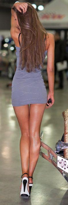 Legs in a Purple Mini Dress and Sky High Heels | C...