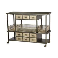 Nova Industrial Bar Cart-Antique Nickel | Memoky.com