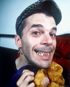 Ian Dury with his pearly red, white, and blues.