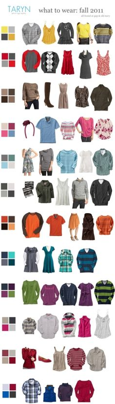 What to Wear for a Photo Session--so many different color schemes. Don't be afraid to mix it up!