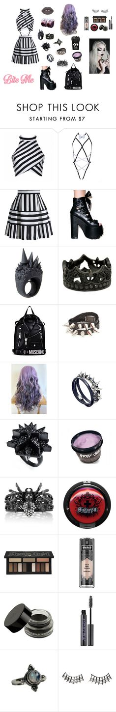 """""""Dead Girls Do It Cuter"""" by metalprincess ❤ liked on Polyvore featuring Ally Fashion, Chicwish, Lime Crime, MM6 Maison Margiela, Moschino, Crezus, Eddie Borgo, BERRICLE, Kat Von D and Urban Decay"""