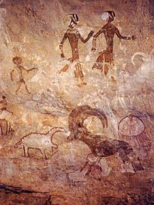 great rock art panel of Tan Zoumaitek features the Big Horn (Oudad) that is the logo of Tassili National Park. Ancient Aliens, Ancient History, Art History, Art Pariétal, Lascaux, Cave Drawings, Tempera, Aboriginal Art, Ancient Artifacts