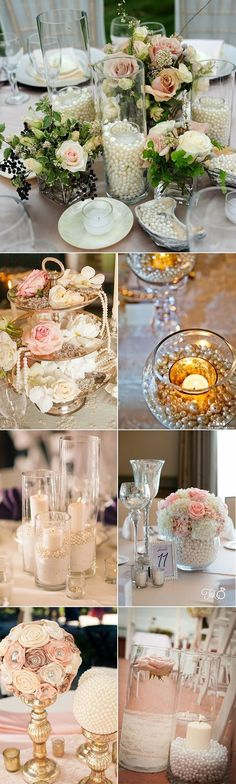 vintage wedding centerpieces using pearls