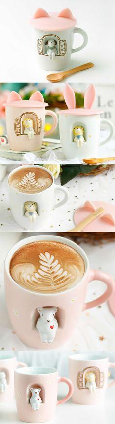 Cartoon Miniature Animal Figurine Ceramic Coffee Cup Mug Cute Turtles, Ceramic Coffee Cups, Novelty Mugs, 3d Cartoon, Christmas Gifts, Holiday, Custom Mugs, Miniatures, Ceramics