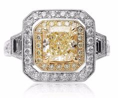 3.00Ct Cushion Cut Fancy Yellow Diamond Engagement Ring 18K White Gold Certified #DiamondJewelersCo #SolitairewithAccents