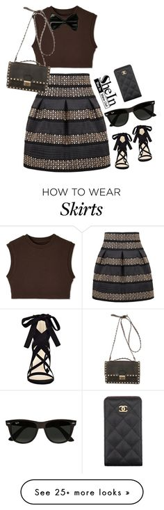 """""""Shein.com Contest - Black High Waist Skirt"""" by aria-star on Polyvore featuring Valentino, Nine West, Ray-Ban, Chanel, grey, fashionset and shein"""