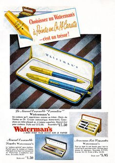 Vintage French Waterman's Pens ad (1952). #vintage #1950s #office #supplies