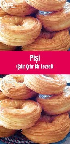 Pişi (Çıtır Çıtır Bir Lezzet) Butterfly Cookies, Breakfast Items, Turkish Recipes, Saveur, Party Snacks, Bread Baking, Bagel, Pasta, Biscuits