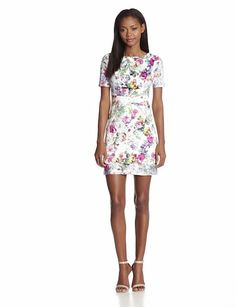 Ivy & Blu Women's Floral Print Fit and Flare Dress, Multi, 2