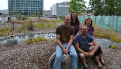 Greening the Rubble - new Nature Play Park. Alan McDonald (DOC), Hillary (Landscape Architect), Jonathan Hall (greening the rubble), Sarah Mankelow (Greening the Rubble).