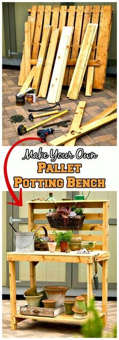 DIY Pallet Potting Bench Tutorial - 150 Best DIY Pallet Projects and Pallet Furniture Crafts - Page 51 of 75 - DIY & Crafts