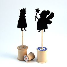Here's a great diy for making a child friendly shadow puppet that acts like a sculpture when not being played with. Paper, scissors, a wooden dowel and a spool, easy!