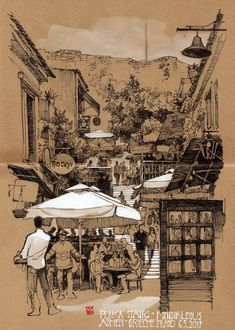 JP Schwarz sketch work - base of Acropolis in Athens #LandscapingSketch