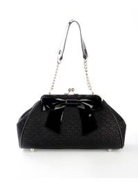 Bow Handbag in Black Sparkle Lace Vinyl with Black Vinyl Trim #purse #handbag #pinup #goth