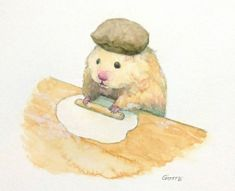 Japanese Artist Depicts The Typical Life Of His Pet Hamster - Japanese Artist And Art University Graduate Gotte Have Turned Their Creative Skills Towards A Very Creative Subject Their Light Hearted Watercolor Pictures Depict A Typical Day In Their Beloved Animals Watercolor, Watercolor Pictures, Watercolor Artwork, Cute Animal Drawings, Art Drawings, Japanese Hamster, Human Doll, Cute Hamsters, Oui Oui