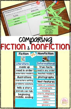 Comparing Fiction and Nonfiction - Do your students need help understanding the differences between fiction vs nonfiction texts? These activities are perfect for making an anchor chart for your classroom as your students are learning to distinguish between fiction and nonfiction. #comparingfictionandnonfiction #fictionnonfiction #fictionvsnonfiction