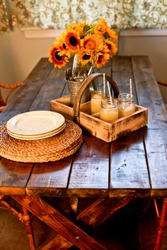 distressed stained farm table custom made by Delta Boy