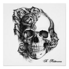 roses pictures to print out | rose skull poster from Zazzle.com