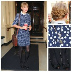 Taylor Swift                          O Jour flats  NW3 dress  A Size Too Small necklace                                            Anna:Taylor channels a vintagefarm girl with this autumnalensemble,and somehow manages to make it work. Her collared domino dress, braided hair, leather satchel, andpaper planenecklace are girly and adorable, while her O Jour metallic toe ballet flats and sheer tights add a touch of elegance.