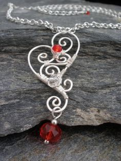 Wire wrapped necklace intricate heart pendant czech glass crystals -  Made to Order (RESERVED).