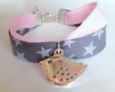 Stars French Fabric Children Wrap Bracelet with Little Bird Charm. $15.00, via Etsy.