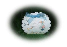 Schöne Gastgeschenke, Muschel aus Karton in blau,mit Bildmotiv, dekoriert mit Organzaband, Sticker und Glitzerstein. Als Gastgeschenk oder z.B. Tischk