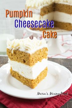 We all know that pumpkin and cheesecake separately are great, but once combined? This Pumpkin Cheesecake Cake with it's No-Bake Cheesecake Layer will have you wishing that it was fall all year round. No Bake Pumpkin Cheesecake, Pumpkin Cake Recipes, Lemon Cheesecake, Baked Pumpkin, Pumpkin Dessert, Baileys Cheesecake, Homemade Carrot Cake, Homemade Cakes, Pumpkin Lasagna