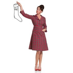 Molly Tartan, red cotton tartan retro dress with loose bow ribbon, vintage in a new dress!