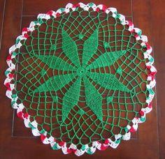Crochet Doily Christmas decor - Green Red White Doily - Table decor - Christmas Gift - Homemaker gift - Vintage style - Heirloom by ElenisCrochet on Etsy