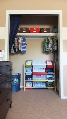 A toy organizer was used to store diapers & shoes in this little boy's closet. could also hold socks, underwear, pj's , play clothes