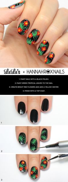 Black Tropical Print Nail Tutorial #hannahroxnails #lulus